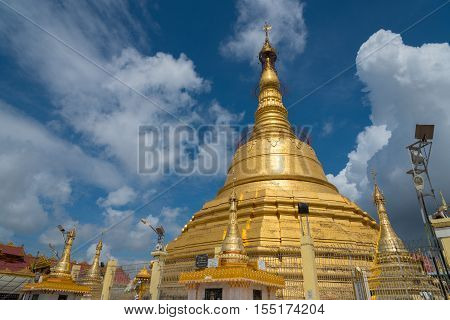 Botataung temple is a famous pagoda located in downtown Yangon, Myanmar, near the Yangon river.