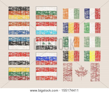 Set of the various flags. Flag painted by pencil stroke. Image relative to travel and politic themes