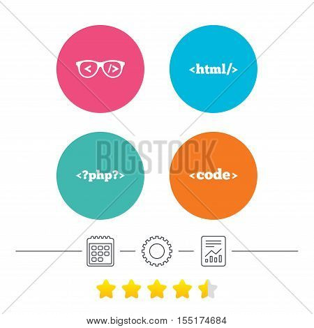 Programmer coder glasses icon. HTML markup language and PHP programming language sign symbols. Calendar, cogwheel and report linear icons. Star vote ranking. Vector