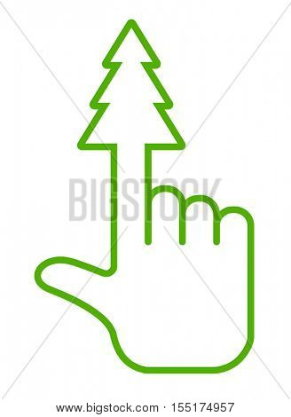 hand pointer icon with christmas tree shape