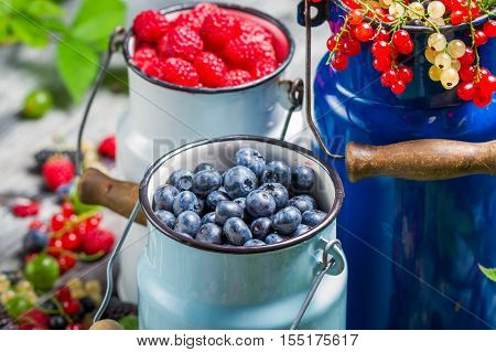 Closeup Of Fresh Berry Fruits In Churn