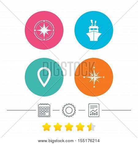 Windrose navigation compass icons. Shipping delivery sign. Location map pointer symbol. Calendar, cogwheel and report linear icons. Star vote ranking. Vector