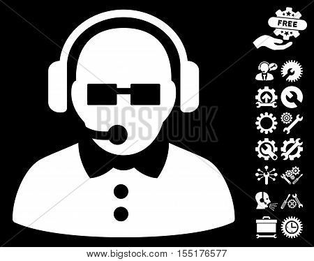 Female Operator pictograph with bonus tools icon set. Vector illustration style is flat iconic symbols on white background.