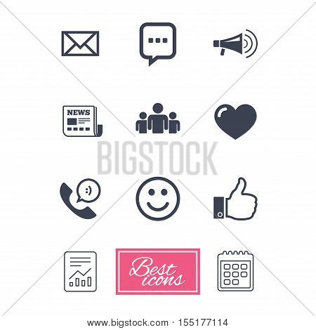 Mail, news icons. Conference, like and group signs. E-mail, chat message and phone call symbols. Report document, calendar icons. Vector