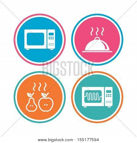 Microwave grill oven icons. Cooking apple and pear signs. Food platter serving symbol. Colored circle buttons. Vector