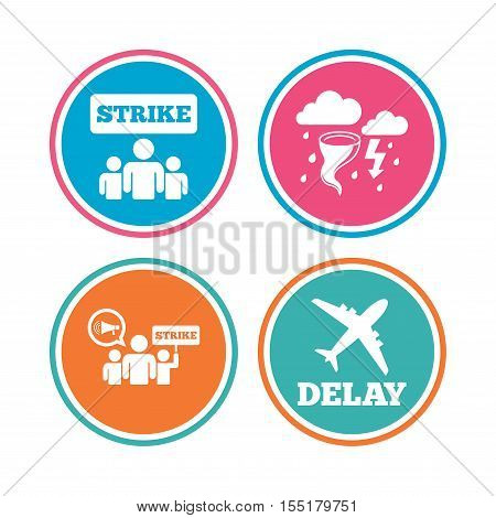 Strike icon. Storm bad weather and group of people signs. Delayed flight symbol. Colored circle buttons. Vector