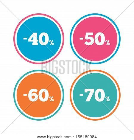Sale discount icons. Special offer price signs. 40, 50, 60 and 70 percent off reduction symbols. Colored circle buttons. Vector
