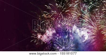 stars and lights pattern of bright colorful fireworks with colorful stars and circle shapes added