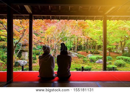 Japanese Girls At Enkoji Temple, Kyoto