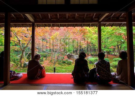 Visitors At Enkoji Temple In Autumn