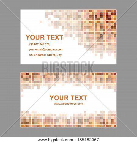 Orange square mosaic business card template set