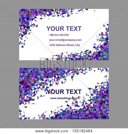 Purple chaotic triangle mosaic business card template set - vector illustration