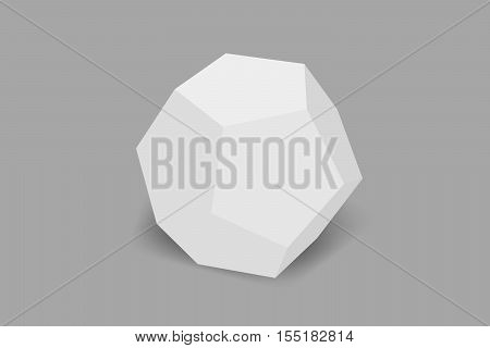 3D white dodecahedron on a gray background.