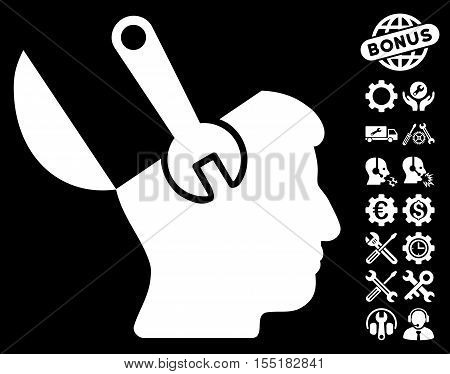 Mind Wrench Surgery pictograph with bonus settings pictograms. Vector illustration style is flat iconic symbols on white background.