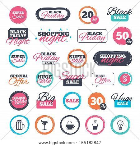 Sale shopping stickers and banners. Drinks icons. Coffee cup and glass of beer symbols. Wine glass sign. Website badges. Black friday. Vector