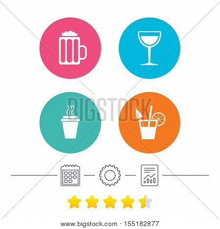 Drinks icons. Take away coffee cup and glass of beer symbols. Wine glass and cocktail signs. Calendar, cogwheel and report linear icons. Star vote ranking. Vector