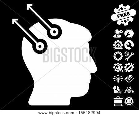 Neural Interface Plugs icon with bonus service graphic icons. Vector illustration style is flat iconic symbols on white background.