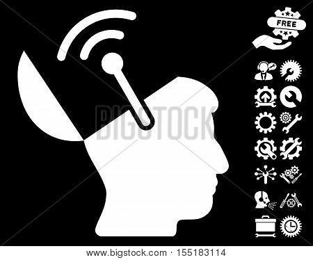 Open Brain Radio Interface icon with bonus tools images. Vector illustration style is flat iconic symbols on white background.