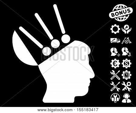 Open Mind Interface icon with bonus configuration symbols. Vector illustration style is flat iconic symbols on white background.