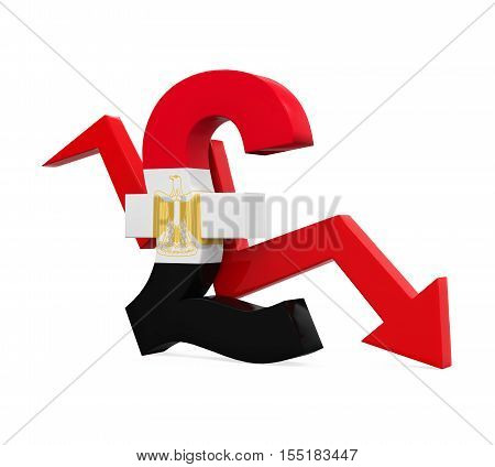 Egyptian Pound Symbol and Red Arrow isolated on white background. 3D render