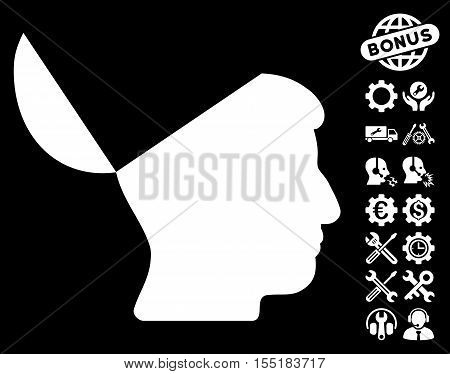 Open Mind pictograph with bonus service images. Vector illustration style is flat iconic symbols on white background.