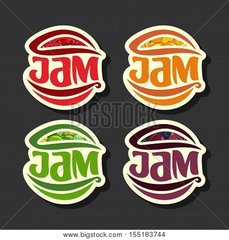 Vector Set simple Fruits Jam Labels: collection set of abstract label red jam, decoration fruit yellow logo or design sticker of icon orange jams, emblems berry dessert isolated on black background.