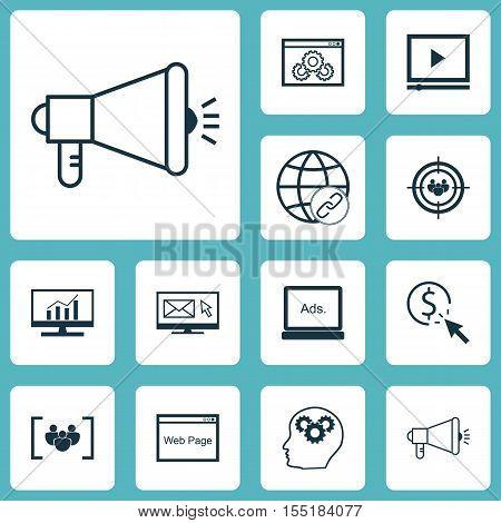 Set Of Seo Icons On Digital Media, Website Performance And Ppc Topics. Editable Vector Illustration.
