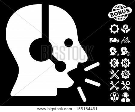 Operator Message icon with bonus setup tools icon set. Vector illustration style is flat iconic white symbols on black background.