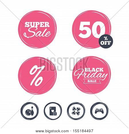 Super sale and black friday stickers. Bowling and Casino icons. Video game joystick and playing card with puzzles pieces symbols. Entertainment signs. Shopping labels. Vector