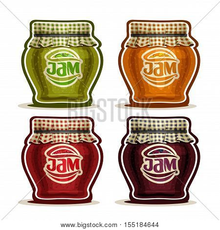 Vector logo Fruit Jam in glass Pot with checkered cloth cover lid tied rope, rustic pot home made strawberry jams, set homemade fruit jam jars, farm orange dessert in jar with label, isolated on white