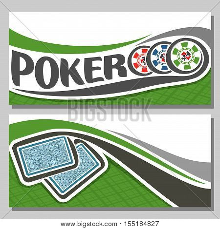 Vector logo of holdem Poker, consisting of flying playing card back for gambling game on green felt table in casino club, cover banner for pokers gamble games, in header 3 colorful abstract chips.