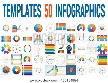 50 Vector Templates for Infographics pie chart ring chart area chart timeline list diagram with text areas for eight positions.