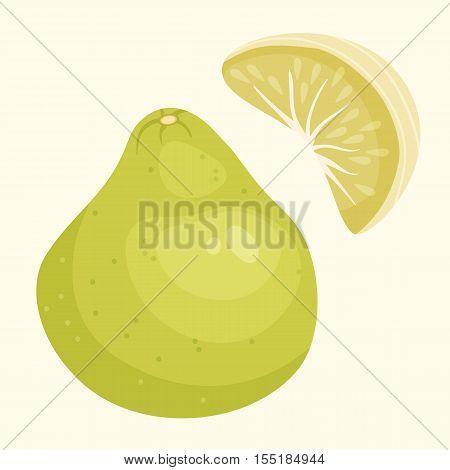 Vector Illustration Of Pomelo. Green Diet Food, Exotic Fruit. Element For Your Food Design, Menu.
