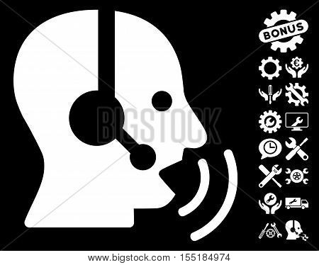 Operator Speech Sound Waves icon with bonus setup tools images. Vector illustration style is flat iconic symbols on white background.