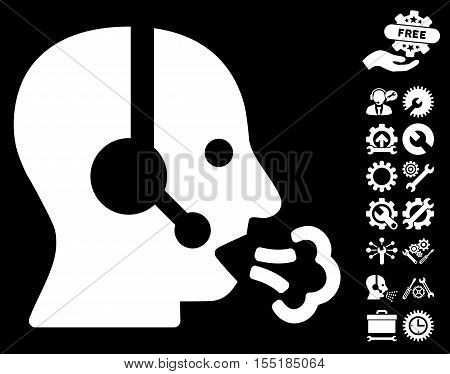 Operator Speech icon with bonus options images. Vector illustration style is flat iconic symbols on white background.
