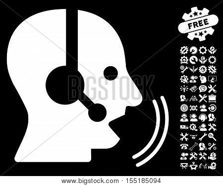 Operator Speech icon with bonus settings graphic icons. Vector illustration style is flat iconic symbols on white background.