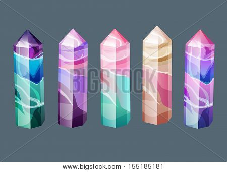 The Magic Treasure Collection. Vector Illustration Set Of Fluorite And Tourmaline Crystals. Gemstone