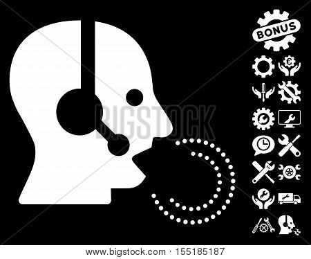 Operator Speech icon with bonus setup tools pictograms. Vector illustration style is flat iconic symbols on white background.