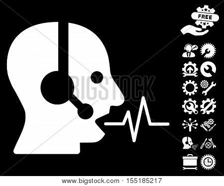 Operator Speech pictograph with bonus setup tools icon set. Vector illustration style is flat iconic symbols on white background.