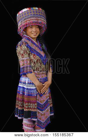 Sin Cheng, Vietnam, October 26, 2016 : A Young H'mong Lady. Women Of North Vietnam Mountains Wear Th