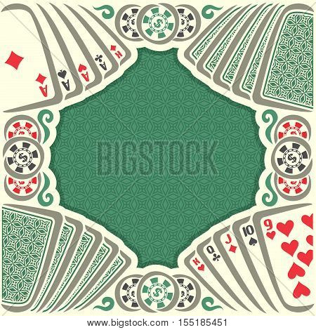Vector logo holdem Poker: vintage poker table with retro playing card green back, dollar sign on token casino chips, gamble game, set hand combinations: four of kind, straight; gambling pokers card.