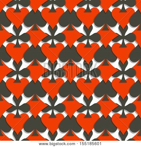 Vector Seamless Pattern Cards Suits: black spades, red hearts, diamonds, clubs on white background for casino, wallpaper seamless pattern for poker club, abstract card suit texture for gambling games.