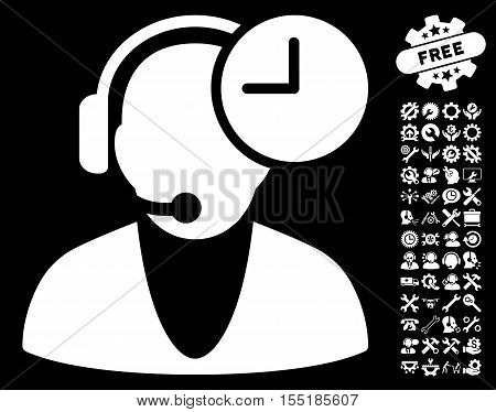 Operator Time pictograph with bonus options graphic icons. Vector illustration style is flat iconic symbols on white background.