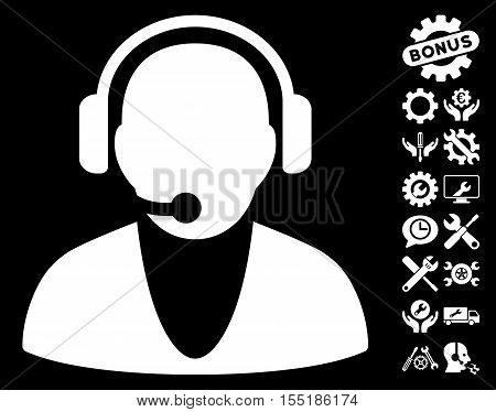 Operator icon with bonus setup tools symbols. Vector illustration style is flat iconic symbols on white background.