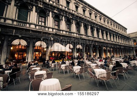 The caffè Florian famous restaurant in venice at the st. mark's square in Italy, October 2016