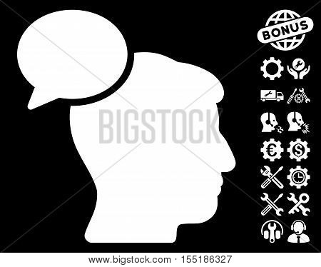 Person Idea pictograph with bonus configuration pictograph collection. Vector illustration style is flat iconic symbols on white background.