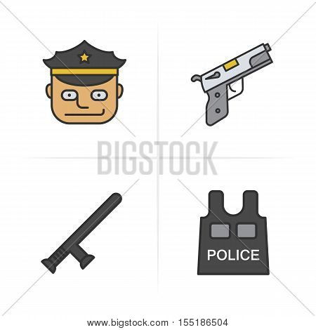 Police items and tools color icons set. Hat, gun, baton, bulletproof vest. Logo concepts. Vector isolated illustration.