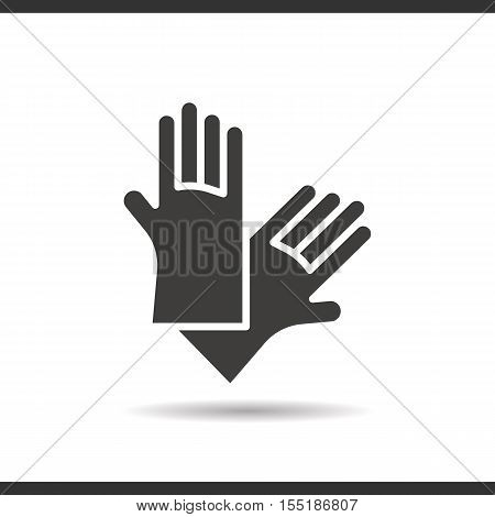 Latex gloves icon. Drop shadow silhouette symbol. Negative space. Vector isolated illustration