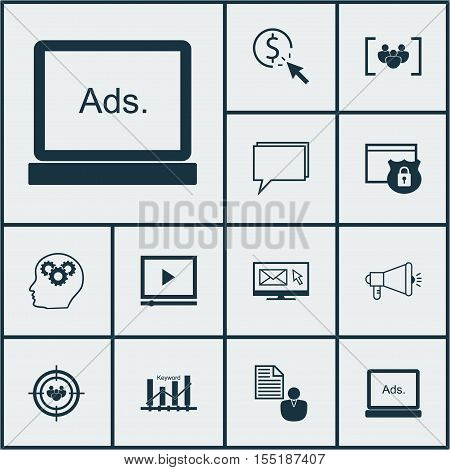 Set Of Seo Icons On Ppc, Report And Focus Group Topics. Editable Vector Illustration. Includes Pay,