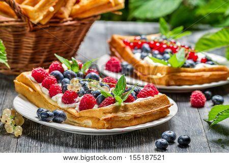 Closeup Of Fresh Berry Fruit On Waffels